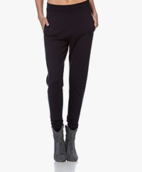 Sibin/Linnebjerg She Merino Knitted Pants - Navy