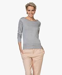 Majestic Filatures Fine Knitted Silk Sweater - Grey Melange