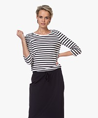 Josephine & Co Blythe Striped T-shirt with Cropped Sleeves - Navy