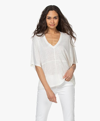 Closed Loose-fit Linen V-neck T-shirt - Ivory