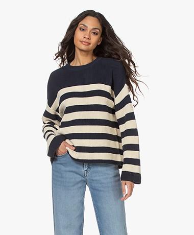 Denham Copped Stripe Rib Sweater - Navy/Ecru