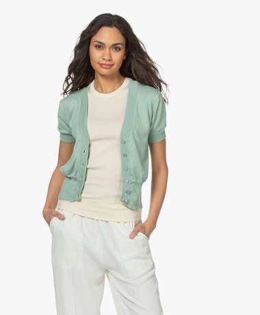 indi & cold Cotton Cardigan with Short Sleeves - Aloe