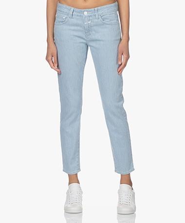 Closed Baker Gestreepte Slim-fit Jeans - Mid Blue
