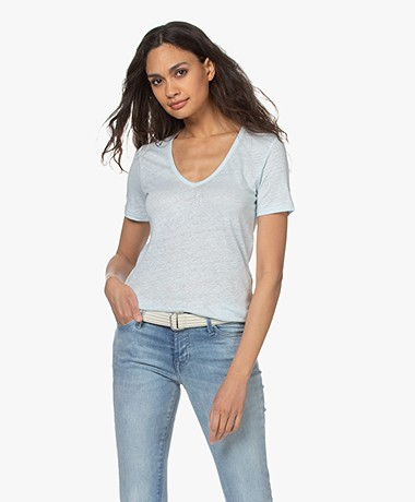 Closed Linen V-neck T-shirt - Frosted Mint
