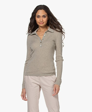 Repeat Cashmere Ribbed Henley Sweater - Pepper