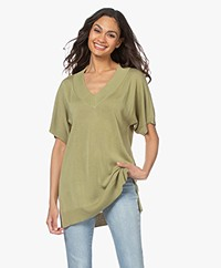 Josephine & Co Lindi Long V-neck Short Sleeve Sweater - Palmleaf