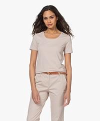 Repeat Katoenen Basis Ronde Hals T-shirt - Beige