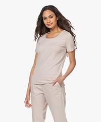 Repeat Cotton Basic Round Neck T-shirt - Beige