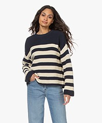 Denham Copped Stripe Rib Sweater - Navy/Ecru