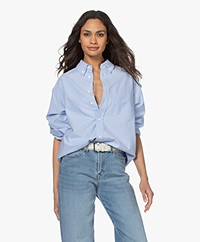 American Vintage Leslie Katoenen Overhemdblouse - Lichtblauw