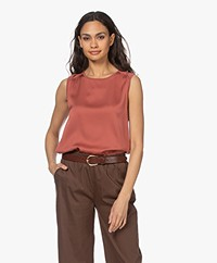 Repeat Silk Blend Top with Jersey Back - Cinnamon