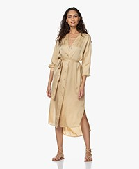 no man's land Satin Shirt Dress - Desert