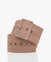 ba&sh Bloom Suede Leather Waist Belt - Dust Pink
