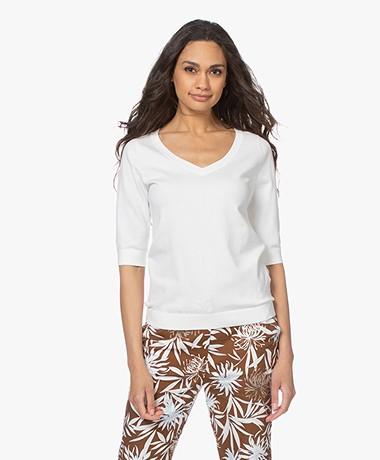 Kyra & Ko Cato Cotton Blend Short Sleeve Sweater - Warm White