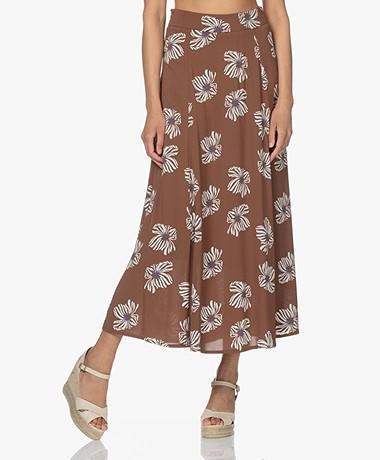 Kyra & Ko Noven Long Flower Print Circle Skirt - Chocolate