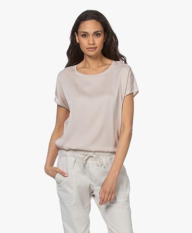 Repeat Jersey T-shirt met Zijden Voorpand - Beige