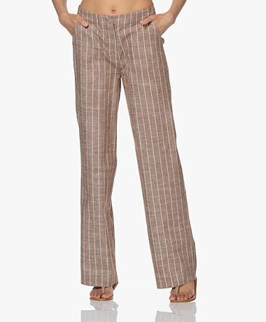 Kyra & Ko Beth Striped Cotton-Linen Pants - Chocolate