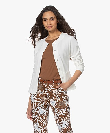Kyra & Ko Elin Jacquard Blazer Jacket - Warm White
