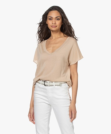 Josephine & Co Luciano V-neck Short Sleeve Sweater - Natural