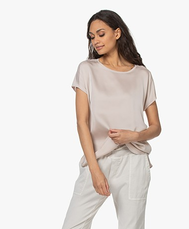 Repeat Jersey T-shirt with Silk Front Panel - Beige