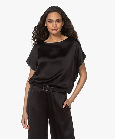 LaSalle Satin Short Sleeve Blouse - Black