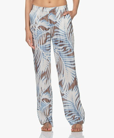 Kyra & Ko Kensi Linnen Print Loose-fit Pantalon - Bright Blue