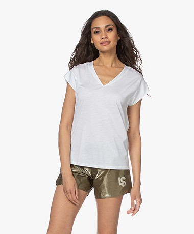 Repeat V-neck T-shirt in Lyocell and Cotton - White