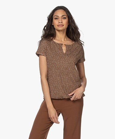Kyra & Ko Lumi Jersey Stippenprint T-shirt - Chocolate