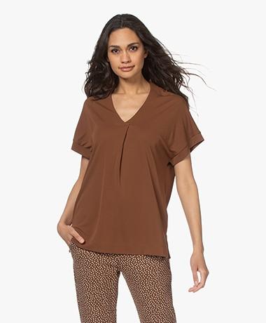 Kyra & Ko Selma Crepe Jersey T-shirt - Chocolate