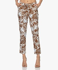 Kyra & Ko Duffy Stretch-cotton Flower Print Pants - Chocolate