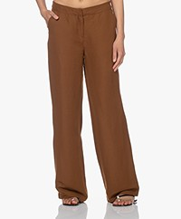 Kyra & Ko Maureen Linen and Viscose Pants - Chocolate