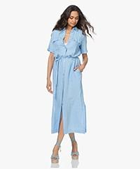 Kyra & Ko Fiebe Linen Maxi Shirt Dress - Sky Blue