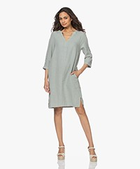 no man's land Linen Slit Neck Dress - Sage