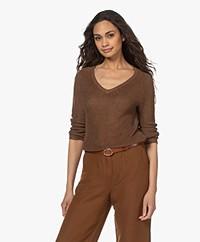 Kyra & Ko Lena Knitted Linen Blend Sweater - Chocolate