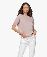 LaSalle Viscose Blend Short Sleeve Sweater - Rose