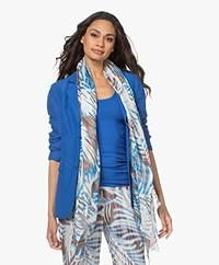 Kyra & Ko Pepita Print Modal Scarf - Bright Blue