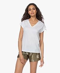 Repeat V-hals T-shirt in Lyocell en Katoen - Wit
