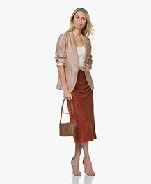 By Malene Birger Terry Velvet Pencil Skirt - Red Clay