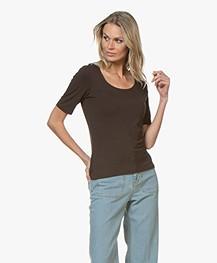 no man's land Viscose T-shirt met Halflange Mouwen - Dark Fondente