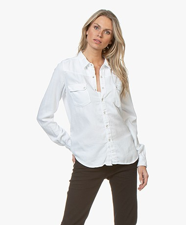 ba&sh Denim Blouse Bridget - White