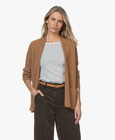 Sibin/Linnebjerg Domo Mid-length Moss Knit Cardigan - Brown Sugar