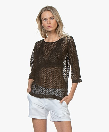 no man's land Lace Cropped Sleeve T-shirt - Core Black