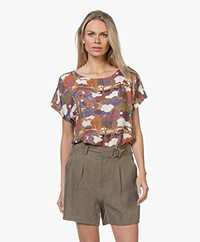 Drykorn Somia Viscose Blouse met Print - Terracotta Roze