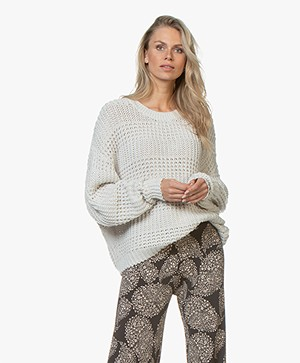 American Vintage Camobird Chunky Knit Cotton Blend Sweater - Husk