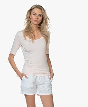 no man's land Viscose T-shirt met Halflange Mouwen - Rosa