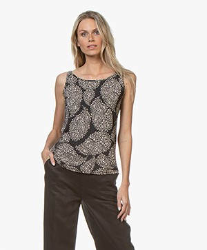 no man's land Jersey Print Top - Zwart