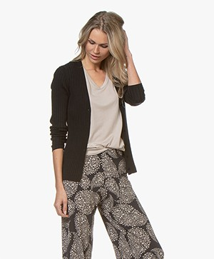 Belluna Citron V-Neck Rib Cardigan - Black