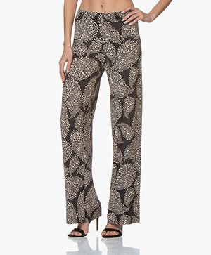 no man's land Wide Leg Printed Pants - Core Black