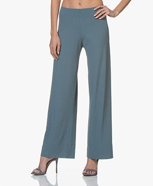 no man's land Crepe Jersey Pants with Wide Legs - Dark Moss