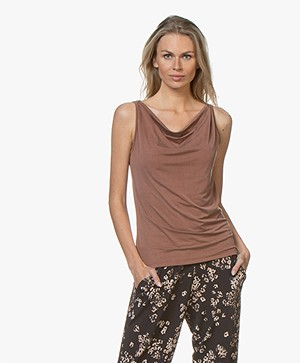 no man's land Cupro Top with Draped Neckline - Sandelwood